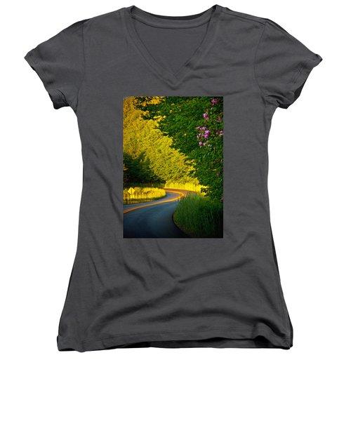 Women's V-Neck T-Shirt (Junior Cut) featuring the photograph Blue Ridge Afternoon by John Haldane
