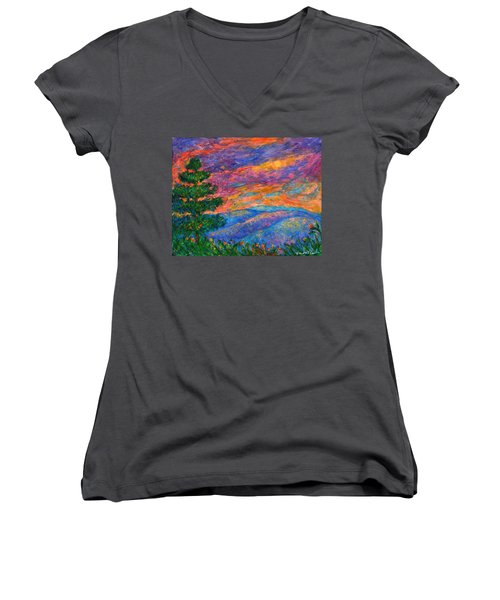 Blue Ridge Jewels Women's V-Neck T-Shirt (Junior Cut) by Kendall Kessler