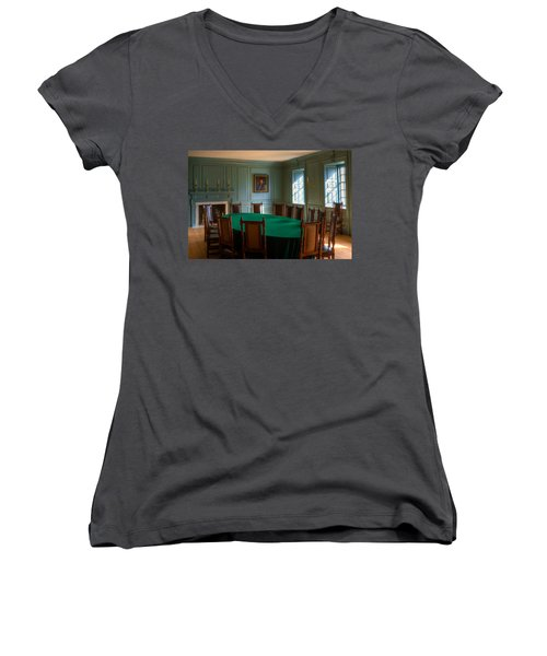 Women's V-Neck T-Shirt (Junior Cut) featuring the photograph Blue Room 2 Wren Building by Jerry Gammon