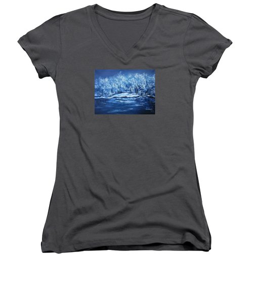 Women's V-Neck T-Shirt (Junior Cut) featuring the painting Blue Silence by Vesna Martinjak