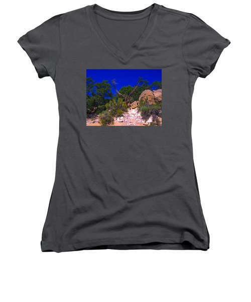Blue Sky Over The Canyon Women's V-Neck (Athletic Fit)
