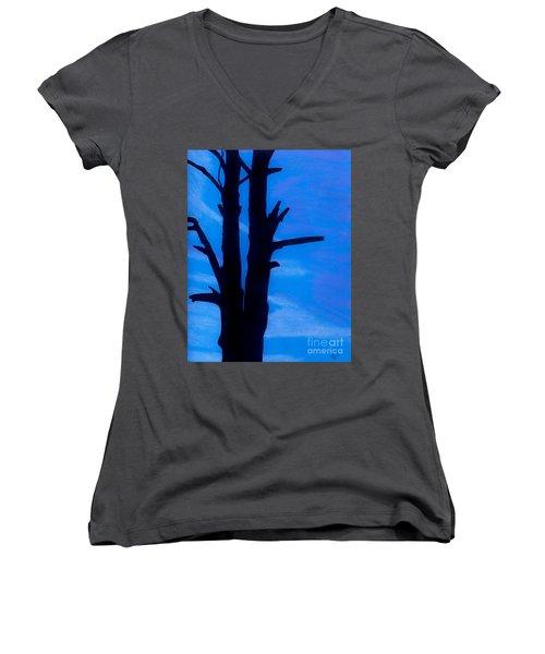 Women's V-Neck T-Shirt (Junior Cut) featuring the drawing Blue Sky Tree by D Hackett