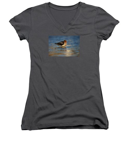 Women's V-Neck T-Shirt (Junior Cut) featuring the photograph Blue Solitude by John F Tsumas