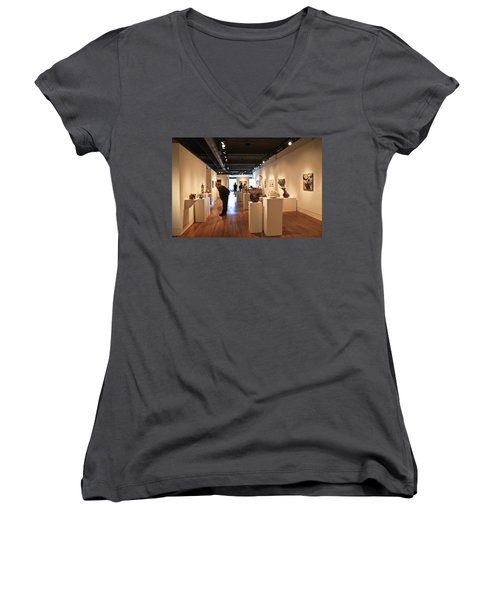 Blue Spiral Gallery In Asheville Women's V-Neck T-Shirt (Junior Cut) by Melinda Fawver