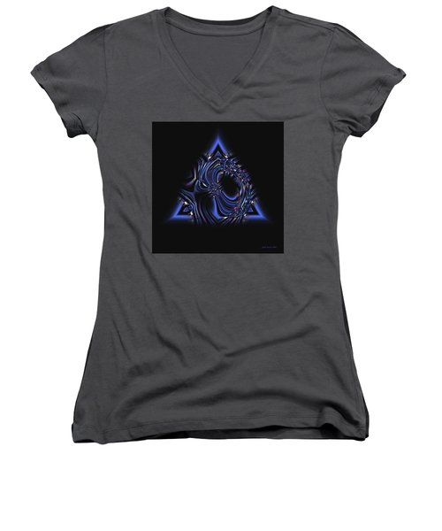 Blue Triangle Jewel Abstract Women's V-Neck