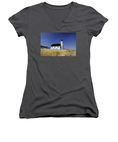 Women's V-Neck T-Shirt (Junior Cut) featuring the photograph Blue Trim Church by Fran Riley