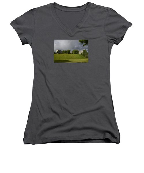 Women's V-Neck T-Shirt (Junior Cut) featuring the photograph Blue Visions 3 by Teo SITCHET-KANDA