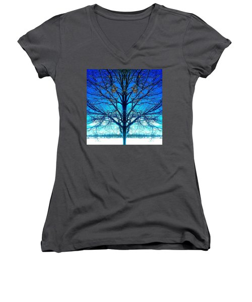 Women's V-Neck T-Shirt (Junior Cut) featuring the photograph Blue Winter Tree by Marianne Dow