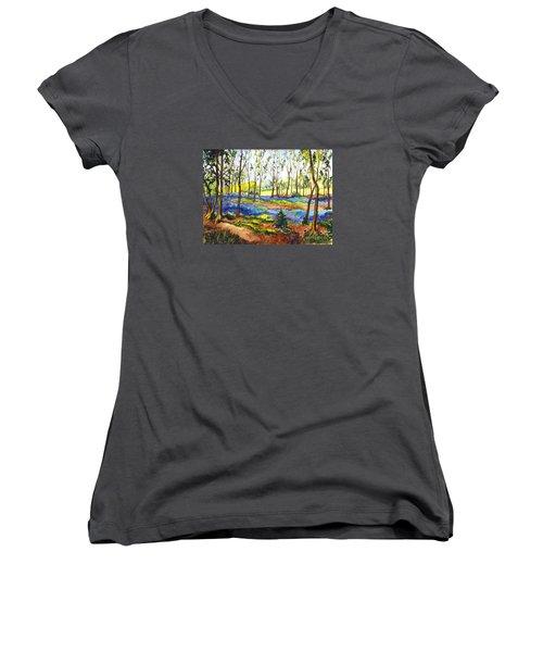 Bluebell Woods Women's V-Neck T-Shirt (Junior Cut) by Carol Wisniewski