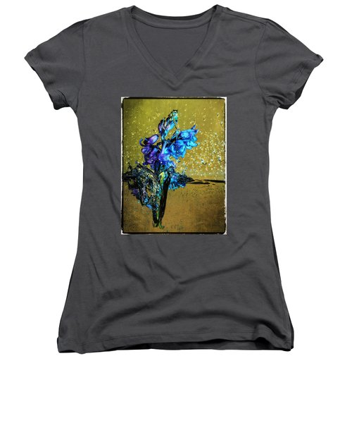 Women's V-Neck T-Shirt (Junior Cut) featuring the mixed media Bluebells In Water Splash by Peter v Quenter