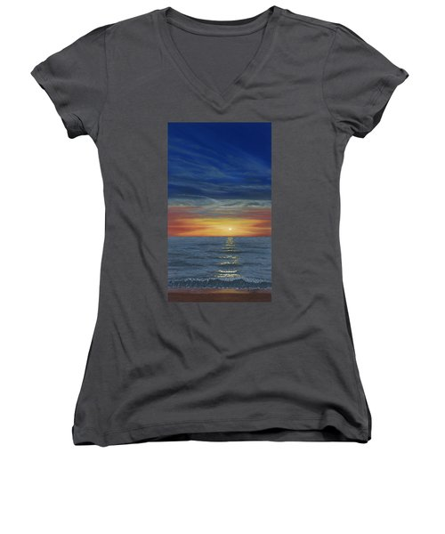 Blueberry Beach Sunset Women's V-Neck (Athletic Fit)