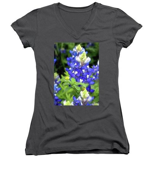 Bluebonnets Blooming Women's V-Neck (Athletic Fit)