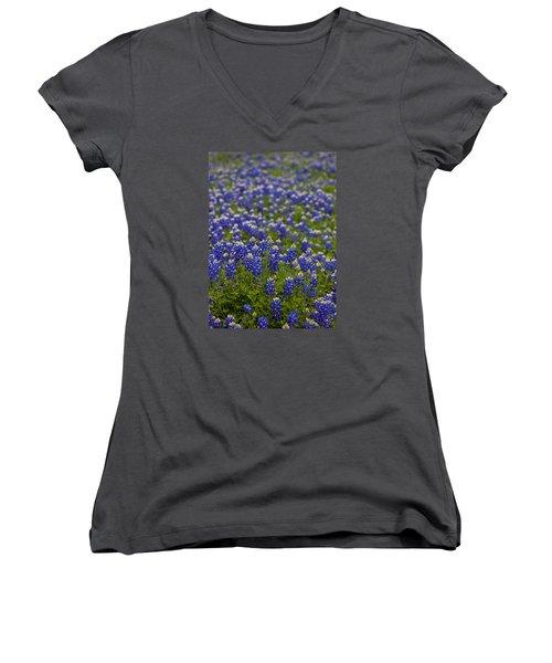 Bluebonnets Forever Women's V-Neck T-Shirt (Junior Cut) by Mark Alder