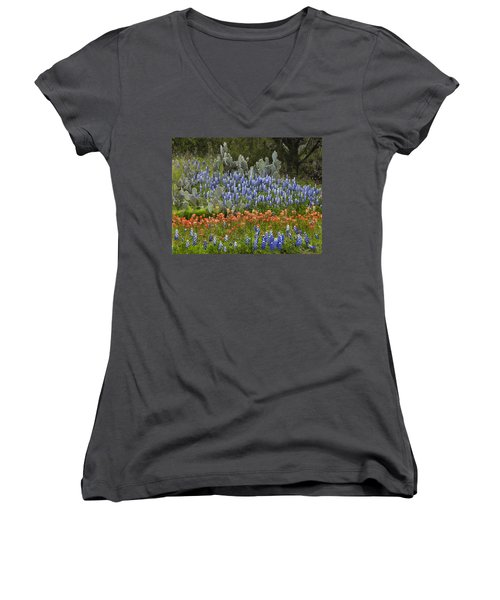 Bluebonnets Paintbrush And Prickly Pear Women's V-Neck