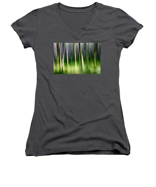 Women's V-Neck T-Shirt (Junior Cut) featuring the photograph Blurred by Juergen Klust