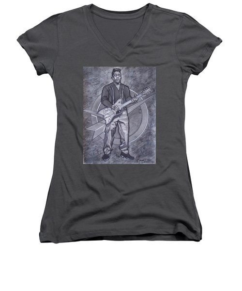 Bo Diddley - Have Guitar Will Travel Women's V-Neck T-Shirt (Junior Cut) by Sean Connolly