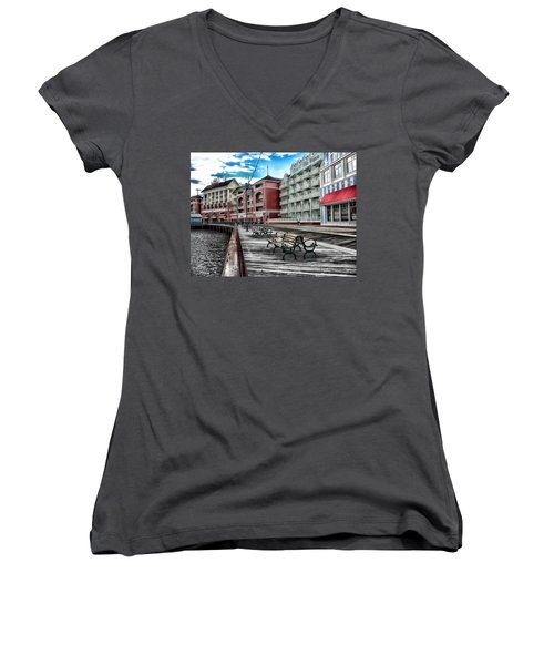 Boardwalk Early Morning Women's V-Neck T-Shirt (Junior Cut) by Thomas Woolworth