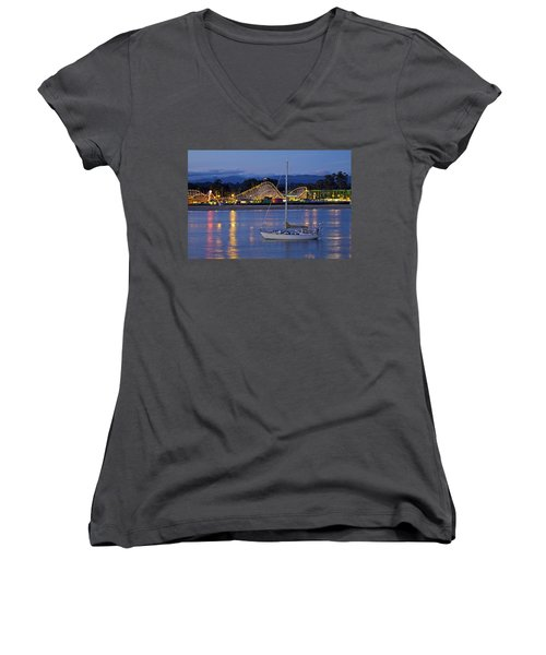 Boat At Twilight Women's V-Neck (Athletic Fit)