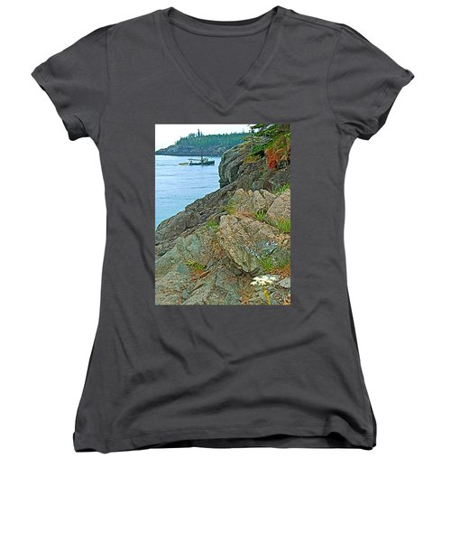 Boat By East Quoddy Bay On Campobello Island-nb Women's V-Neck T-Shirt
