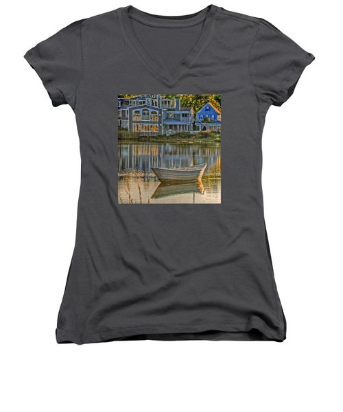 Boat In Late Afternoon Women's V-Neck (Athletic Fit)