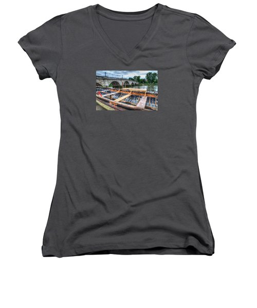 Boat Repair On The Thames Women's V-Neck T-Shirt