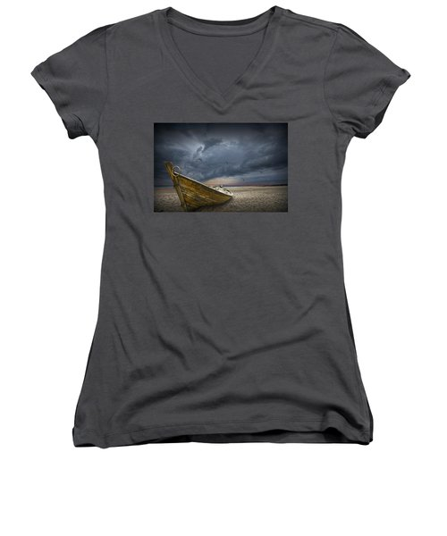 Boat With Gulls On The Beach With Oncoming Storm Women's V-Neck