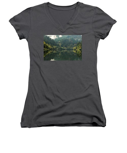 Women's V-Neck T-Shirt (Junior Cut) featuring the photograph Boathouse by Katie Wing Vigil