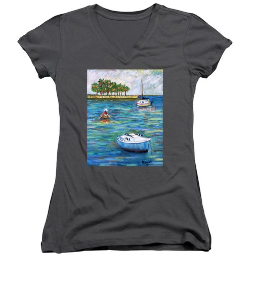 Boats At St Petersburg Women's V-Neck T-Shirt (Junior Cut) by Michael Daniels