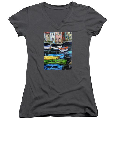 Women's V-Neck T-Shirt (Junior Cut) featuring the painting Boats In Front Of The Buildings II by Xueling Zou