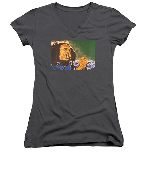 Bob Marley Women's V-Neck (Athletic Fit)