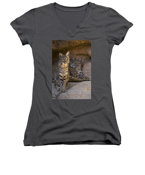 Women's V-Neck T-Shirt (Junior Cut) featuring the photograph Bobcat 8 by Arterra Picture Library