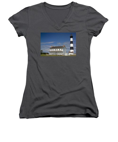 Women's V-Neck T-Shirt (Junior Cut) featuring the photograph Bodie Lighthouse Obx by Greg Reed