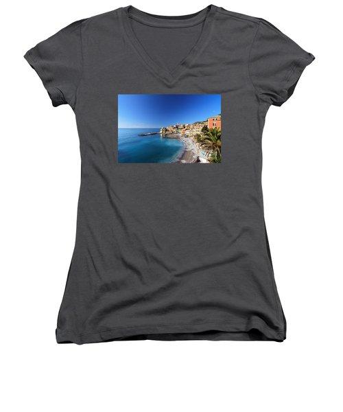 Bogliasco Village. Italy Women's V-Neck T-Shirt (Junior Cut) by Antonio Scarpi