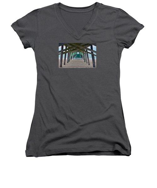 Bogue Banks Fishing Pier Women's V-Neck T-Shirt (Junior Cut) by Sandi OReilly