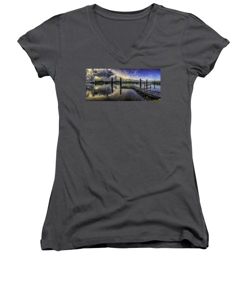 Bon Secour Panorama Women's V-Neck T-Shirt (Junior Cut) by Michael Thomas
