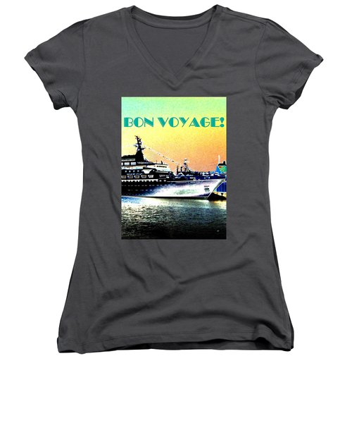 Bon Voyage Women's V-Neck T-Shirt (Junior Cut)
