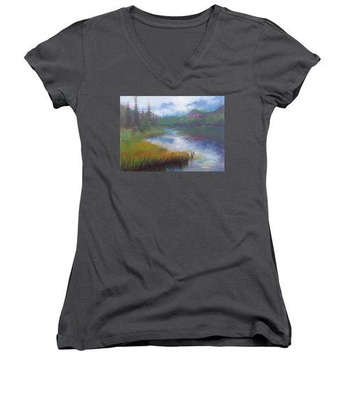 Bonnie Lake - Alaska Misty Landscape Women's V-Neck