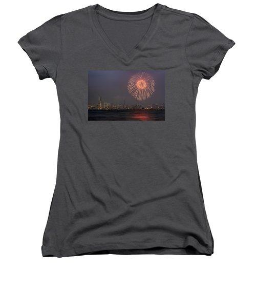 Boom In The Sky Women's V-Neck T-Shirt (Junior Cut) by John Swartz