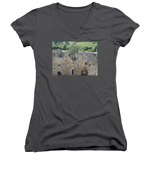 Women's V-Neck T-Shirt (Junior Cut) featuring the photograph Bordeaux Castle Ruins With Vineyard by HEVi FineArt