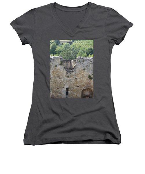 Bordeaux Castle Ruins With Vineyard Women's V-Neck