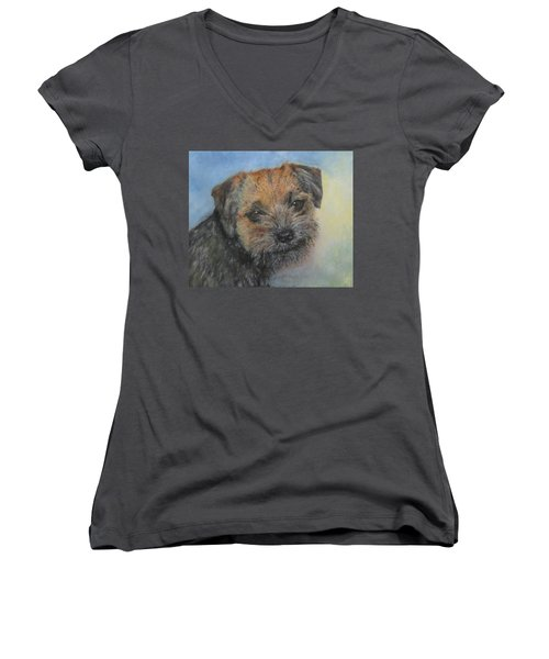 Women's V-Neck T-Shirt (Junior Cut) featuring the painting Border Terrier Jack by Richard James Digance