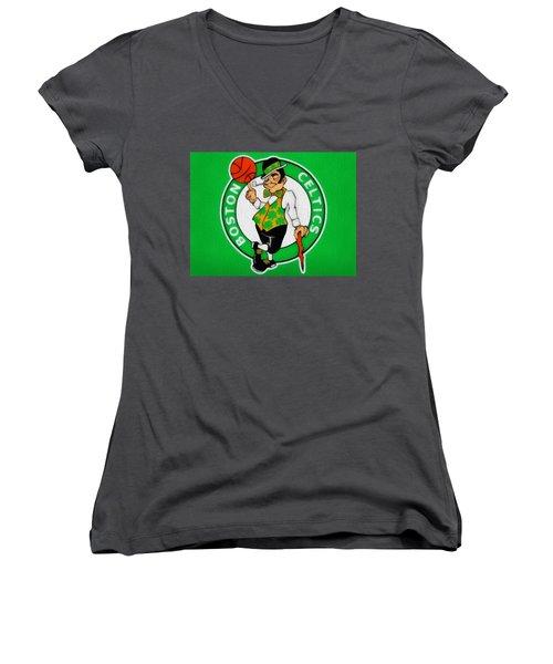 Boston Celtics Canvas Women's V-Neck T-Shirt (Junior Cut) by Dan Sproul
