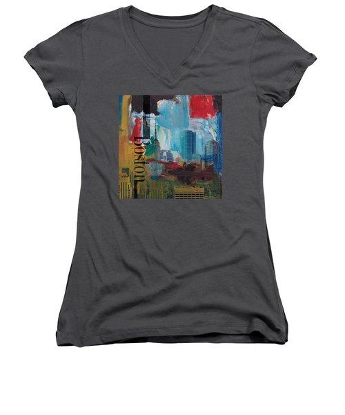 Boston City Collage 3 Women's V-Neck T-Shirt (Junior Cut)