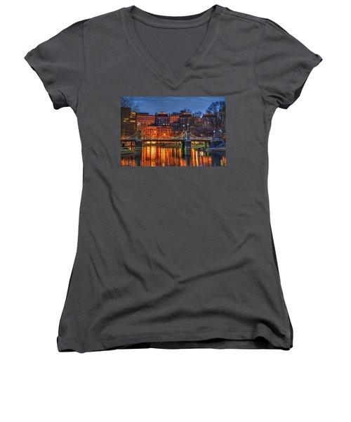 Boston Public Garden Lagoon Women's V-Neck T-Shirt (Junior Cut) by Joann Vitali