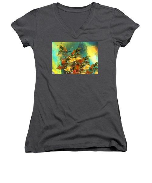 Women's V-Neck T-Shirt (Junior Cut) featuring the digital art Botanical Fantasy 090914 by David Lane