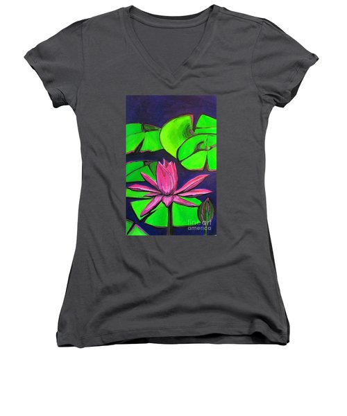 Botanical Lotus 1 Women's V-Neck (Athletic Fit)