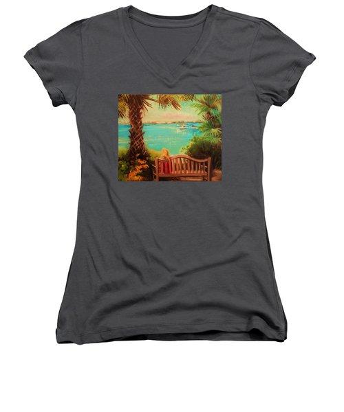 Botanical View Women's V-Neck T-Shirt (Junior Cut) by Yolanda Rodriguez