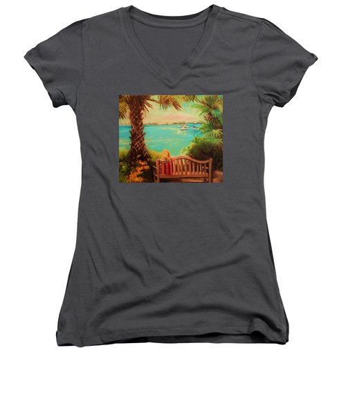 Botanical View Women's V-Neck (Athletic Fit)