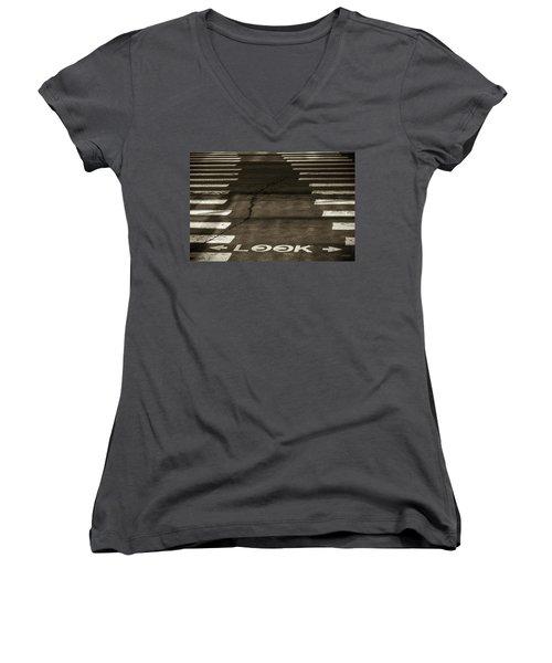 Both Ways - Urban Abstracts Women's V-Neck T-Shirt (Junior Cut)