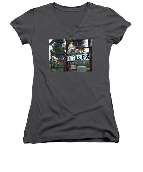 Bottle Trees Route 66 Women's V-Neck T-Shirt